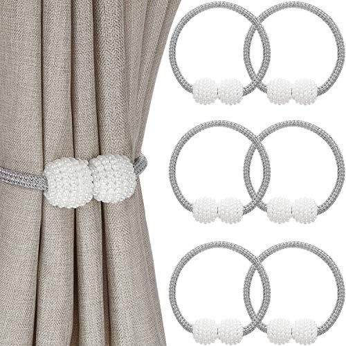 Outus Magnetische Vorhang Raffhalter Faux Perle Ball Fenster Rückschläge Vorhang Halter Schnalle Clips für Zuhause Büro Dekoration (6 Stücke)