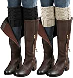 Loritta 2 Pairs Womens Boot Cuffs Winter Short Cable Knit Leg Warmers Boot Socks Gifts,2pairs- Style 03