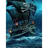 najiaxiaowu Adult Jigsaw Puzzle 1000 Piece Wooden Puzzle Pirate Ship Pattern in The Storm for Teenagers and Adults,Very Good Educational Game