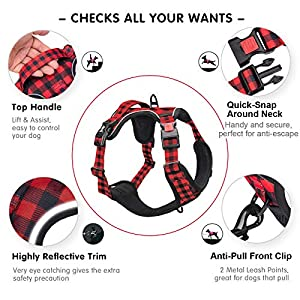 PoyPet No Pull Dog Harness, [Release on Neck] Reflective Adjustable No Choke Pet Vest with Front & Back 2 Leash Attachments, Soft Control Training Handle, Buffalo Plaid(Checkered Red, Small)