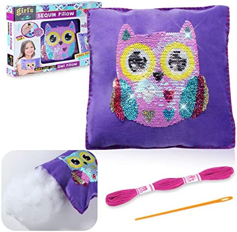 Gili Plush Pillows Toys with Needle and Thread Kits for Sewing Owl Sequin Bedroom D cor Arts product image