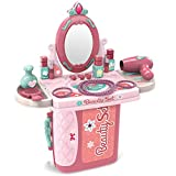 SameTech Kids Pretend Play Beauty Salon Fashion Play Makeup kit and Cosmetic Toy Set with Hairdryer, Mirror &...
