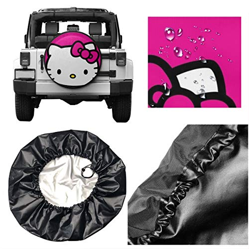 Spare Tire Cover Hello Kitty Pink Universal Waterproof Dust-Proof Wheel Covers
