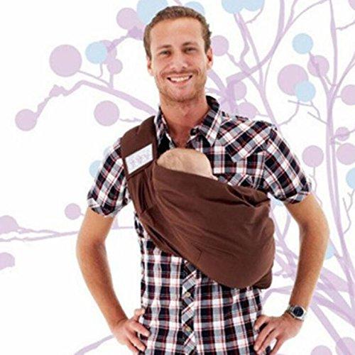 AIBAB Babytragen Tragetücher Rückentragen Einstellbare Länge Eine Schulter Umarmung Multifunktional Sling Baumwolle Atmungsaktiv 0-4 Jahre Alt DREI Farben,Brown