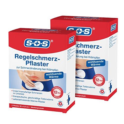 SOS Regelschmerz-Pflaster, angenehme Wärme zur Schmerzlinderung bei Krämpfen, wohltuende und konstante Tiefenwärme bei Schmerzen während der Menstruation, je 20 x 9,5 cm, 2 x 2 Pflaster