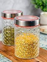 Goodhomes GHJ-Jar-1007 Glass Jar with Lid - 1000 ml, 4 Pieces, Clear