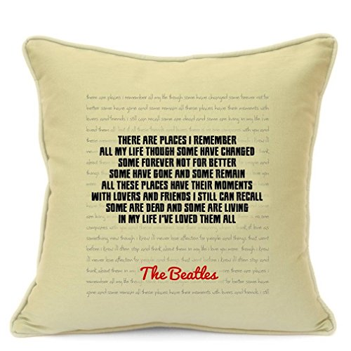 The Beatles Song Lyrics Quotes Cotton Pillow Cushion Cover for Sofa 18 inch 45 cm Presents Gifts For Friends Family Him Her Girlfriend Boyfriend Gift Home Decor Living Room