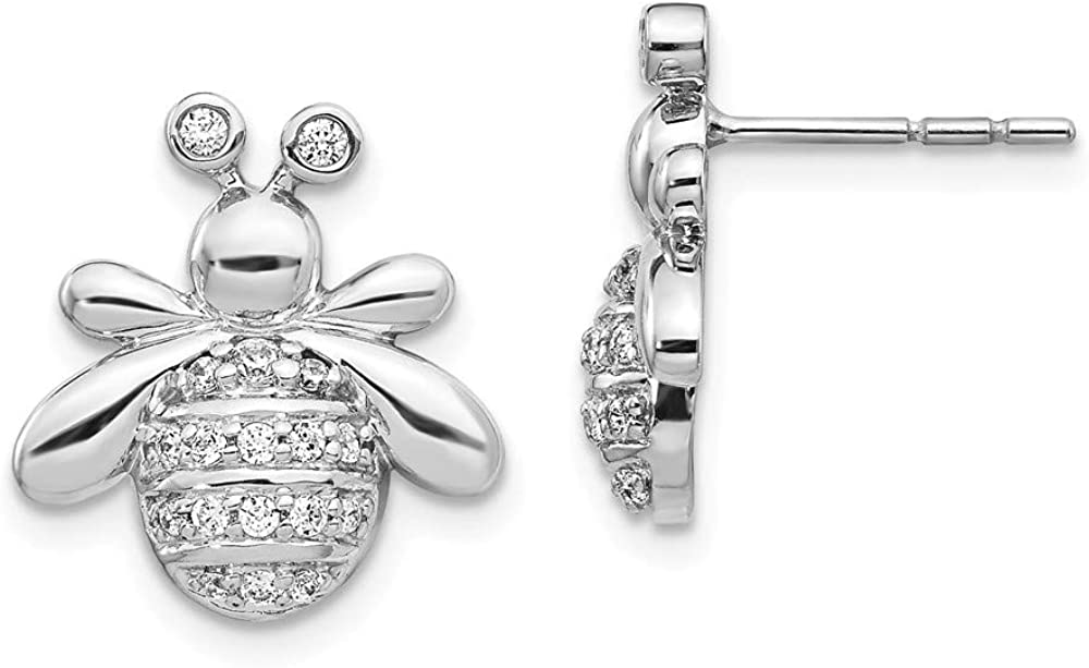 Solid 14k White Gold Diamond Bee Button Post Studs Earrings - 15mm x 13mm (.296 cttw.)