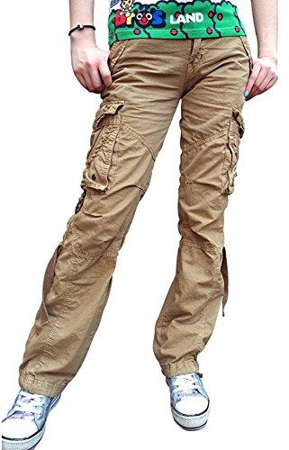 Urbanboutique Damen Kampf lässig Fracht Sechs Tasche Baumwolle Militär Hose DE, UK 14 - EU 42 - XLarge, Khaki
