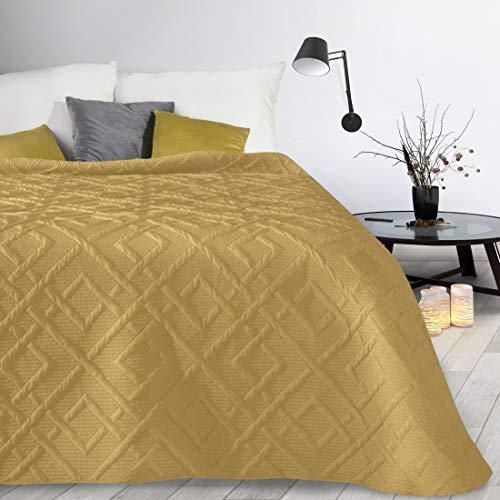Design91 Couvre-lit matelassé Alara - Couleur unie - Matelassé - Motif géométrique 3D - Toute l'année (moutarde 2, 230 x 260 cm)