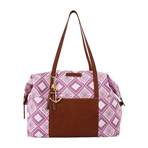 Price comparison product image Margaritaville Unisex Weekender Duffle Shoulder Bag With Detachable Strap Mosaic Fuchsia Pink