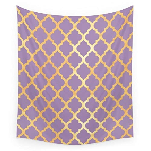 ZWBBO Tapiz Tapiz de Pared de Oro y púrpura marroquí Tapiz Colgante de Pared para el hogar Alfombra de Arte psicodélica Colcha (130X150cm)