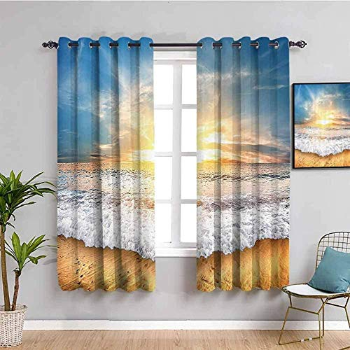 ZLYYH Thermal Curtains Sunrise beach waves landscape W52 xL72 Blackout Curtains Eyelet Curtains Pencil Pleat Thermal Insulated Curtains Bedroom living room Super Soft 100% Polyester Microfibre