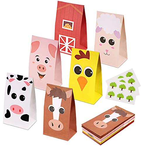 RecooTic Farm Animal Party Bags Goodie bags for Kids Farm Themed Party  Pack of 24