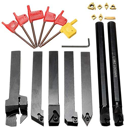 HshDUti Juego de 7 soportes para herramientas giratorias Shank Lathe Drill Bar S12M-SCLCR06 SER1212H16 con inserciones de metal duro (7 unidades)