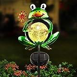 Garten Solarleuchten für außen LUNSY solar garten dekoration garten lampen[2021 New] Froschglaskugel mit 2 Fuß, Auto ON / OFF Solarbetriebenes Licht für Rasen, Garten, Terrasse, Weg