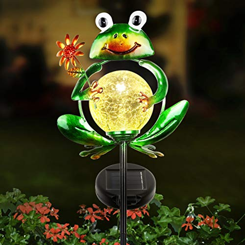 [2021 New]LUNSY Garden Solar Lights Outdoor Decorative, Metal Frog Shape, Outdoor Waterproof Stake Lights with 2 Feet, Auto ON/OFF Solar Powered Light for Lawn, Backyard, Patio, Pathway