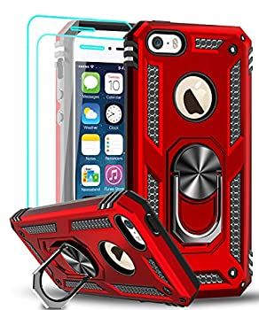 LeYi Compatible for iPhone se Case  2016  iPhone 5s Case iPhone 5 Case Military-Grade Armor Full-Body Phone Cover Case with 360 Degree Rotating Holder Kickstand for iPhone 5/5s/se Red