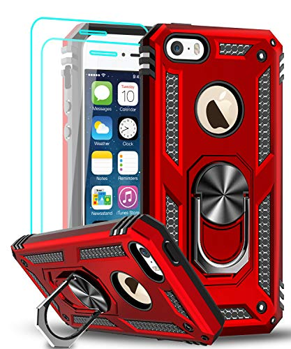 LeYi iPhone se Case (2016), iPhone 5s Case, iPhone 5 Case with Tempered Glass Screen Protector [2 Pack], Military-Grade Protective Phone Case with Ring Car Mount Kickstand for iPhone 5/5s/se, Red