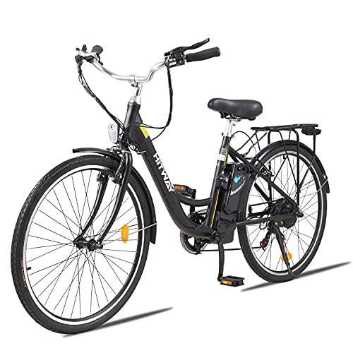 HITWAY Bicicleta eléctrica de 26'para Adultos, Bicicleta eléctrica con batería extraíble de Motor de 250W, 3 Modos de Trabajo Ajustables, Bicicleta eléctrica con Sistema de 7 velocidades Shimano