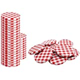 com-four® 40x Ersatzdeckel für Marmeladengläser - rot/weiß karierte Schraubdeckel für Sturzgläser und Einmachgläser - TO 82 mm (0040 Stück - TO 82 mm rot/weiß kariert)