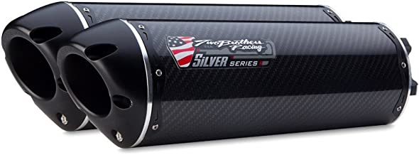 Two Brothers Racing (005-2720405DV-S) Silver Series M-2 Carbon Fiber Canister Dual Slip-On Exhaust System