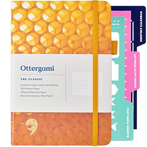 Bullet Dot Journal gepunktetes Notizbuch A5 + Bonus Organizer Schablonen | Ultra dickes 150 g/m² Punktraster Papier | Der Klassiker