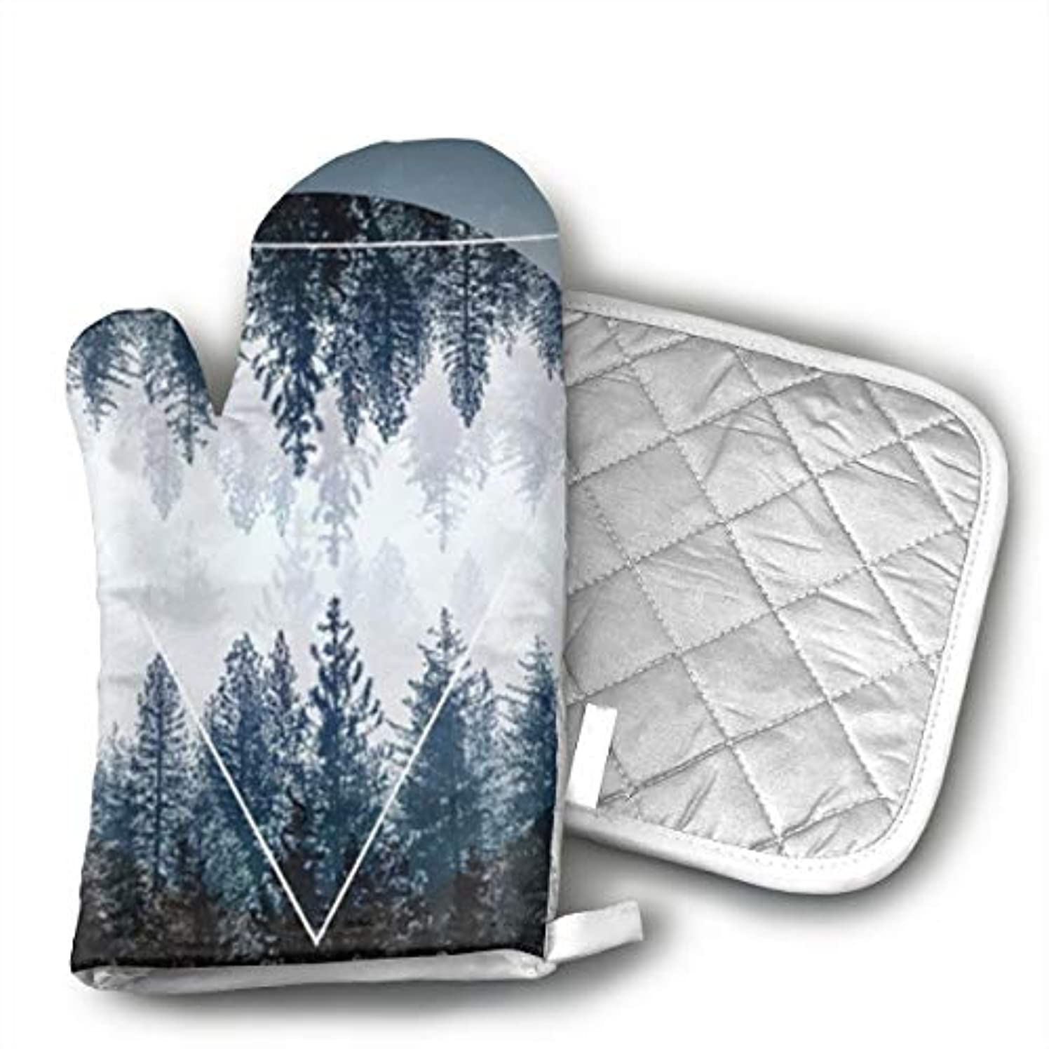 Glovesdkhh Sunset Forest Ocean and Mountains Oven Mitts Flame Retardant Mitts Heat Resistant to 425 Degrees F 11.8 Inch and Pot Holders