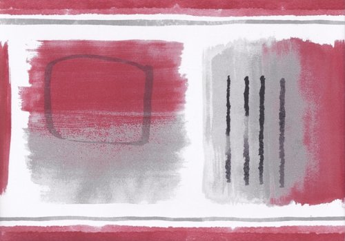 Wallpaper For Less CT78155 Abstract Wallpaper Border, Red Grey White Black