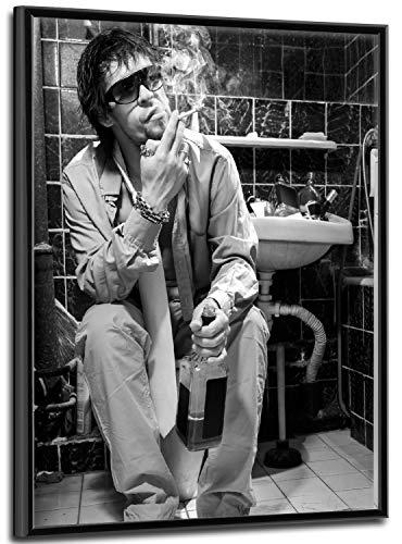 Wallario Black and White Edition - Wandbild Kloparty - Sexy Mann auf Toilette mit Zigarette SW in Premiumqualität mit schwarzem Rahmen, Größe: 40 x 50 cm