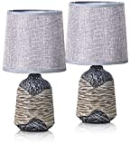 BRUBAKER Set de 2 Lámparas de Mesa o de Noche 27,5 cm - Gris/Marrón - Pies de Lámpara de Cerámica con Estructura - Pantallas de Lino Gris