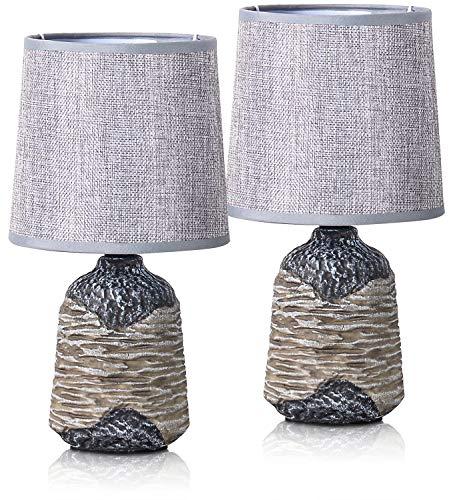 2er Set BRUBAKER Tisch- oder Nachttischlampen 27,5 cm - Grau/Braun - Keramik Lampenfüße mit Strukur - Leinen Schirme Grau