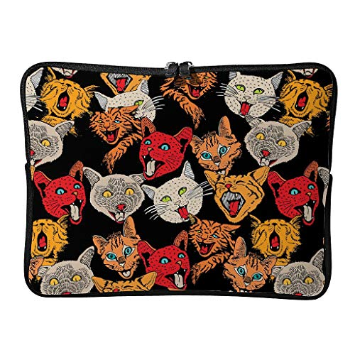 Standard Colorful Angry Cat Laptop Bags Scratch-Resistant Theme Laptop Sleeves Suitable for Commuter White 10 Zoll