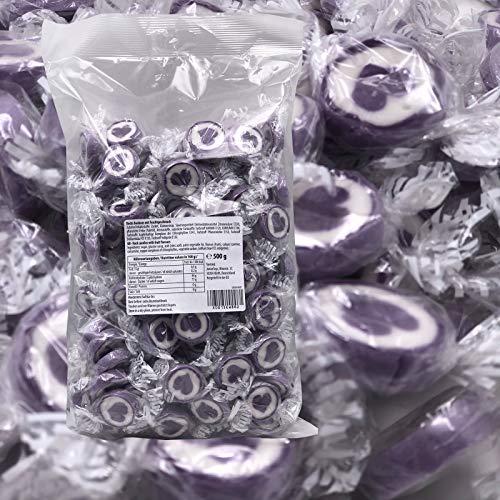 Herzbonbons zu Hochzeit Taufe Kommunion 500g - handgewickelte Rocks-Bonbons mit Herz - Tischdeko Nascherei Gastgeschenk (flieder)
