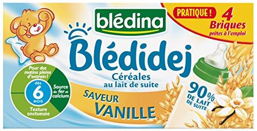 Blédina Bledidej Céréales lactées Saveur Vanille dès 6 mois 4 briques de 25 cl