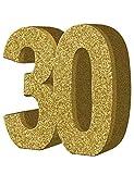 Creative Party- Decorazione da Tavolo con Numero 30 Glitter Dorati, 1 Pezzo, Oro, 30th, H102