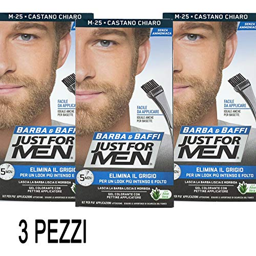 Just For Men - Barba y bigote - Tintura color permanente con pincel, sin amoniaco - Color castaño claro M-25 - Cantidad 2 x 14 ml - 3 Unidades