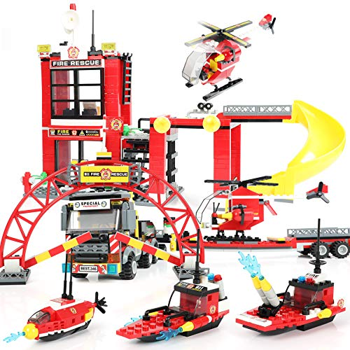 971 Pieces City Fire Station, Heavy Helicopter Cargo Transport Building Blocks Playset, Marine Fire Rescue Toy with Emergency Firefighter Patrol Ships & Helicopter, Gift for Kids Boys Girls 6-12