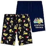 Pokemon Short Enfant, Lot de 2 Shorts en Coton Enfant Ado Garcon Gamer 4-14 Ans (Noir/Navy, 7-8 Ans)