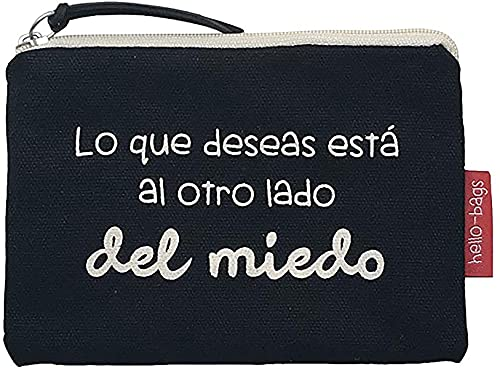 Hello-Bags Bolso Monedero/Billetero/Tarjetero, Algodón 100%, con Cremallera y Forro Interior, Incluye sobre Kraft de Regalo, Negro, 14x10 cm