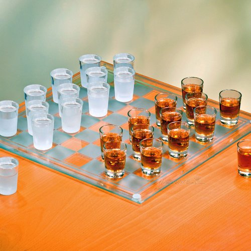 Crystal Clear 326239-GB Checkers Shot Drinking Game Set w/ 24 Lead-Free Glass Shots & Game Board-Ideal Gift for Birthdays, Father's Day & Housewarming, 14""