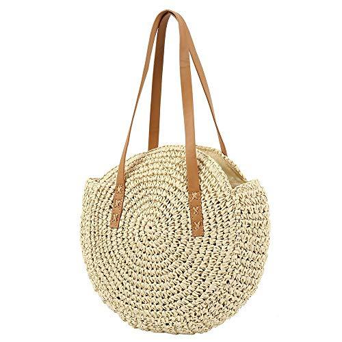 Bolso Tejido Redondo de Paja,Bolsa de Playa de Verano, Para Mujer Bolsa de Hombro de Verano Para Viajes en la Playa y(Beige L)