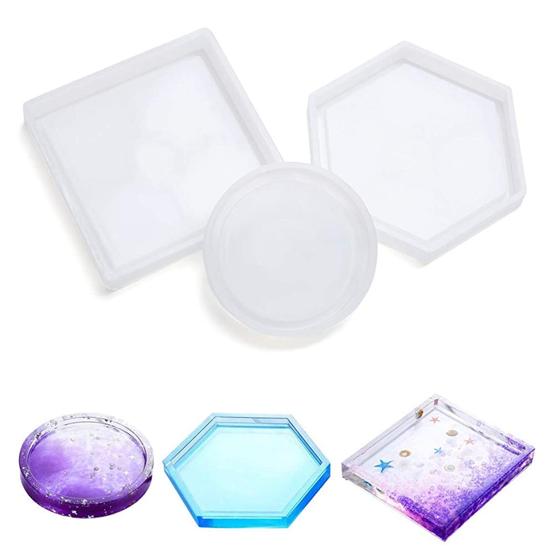 3 Pcs Silicone Coaster Molds for Resin Casting, DIY Hexagon Mold Coaster Bottom Bracket Prevents Deformation, Molds for Casting with Resin, Concrete, Cement(Round, Square, Hexagon)