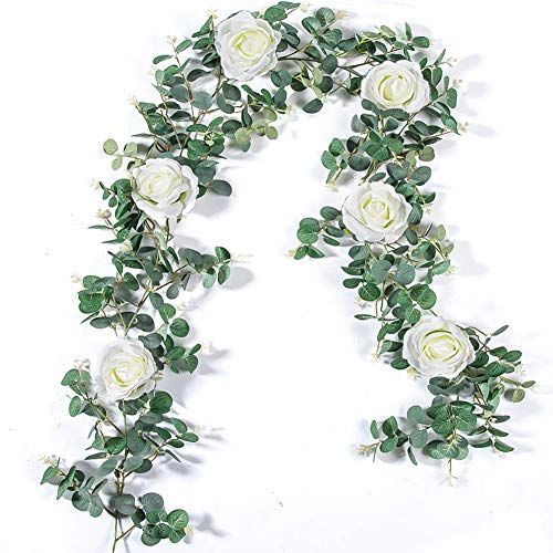 TOPHOUSE Eucalyptus Garland with White Roses 6Ft Artificial Vines Faux Silk Greenery Eucalyptus Leaves for Wedding Backdrop Wall Decor