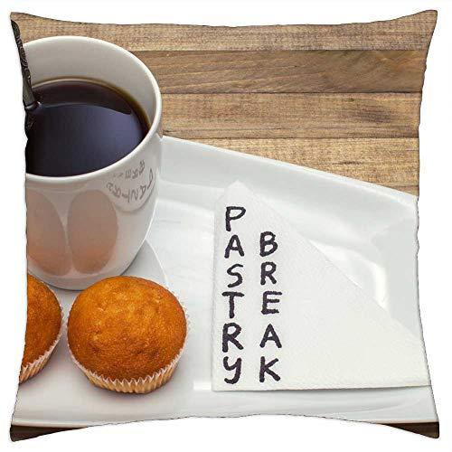 LESGAULEST Throw Pillow Cover (20x20 inch) - Background Black Break Brown Cake Ceramic Coffee