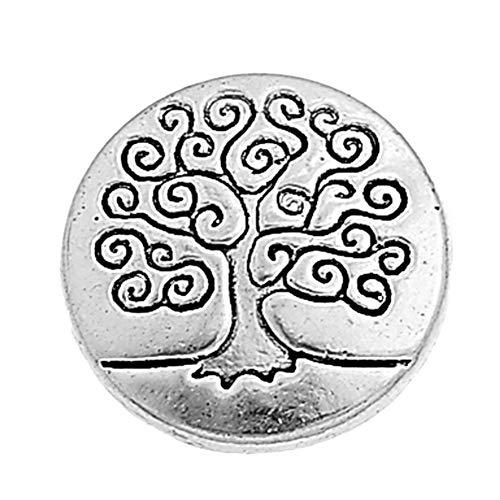 Demarkt 50 Stück runde, quadratische, blumenförmige Kleidungsknöpfe Alte Silberne Knöpfe mit Einem Durchmesser von 15 mm (zufälliges Mischmuster)