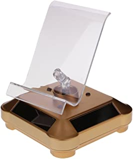 Perfk Solar Turntable Showcase W/Led Light Watches Jewelery Phone Display Stand - Gold