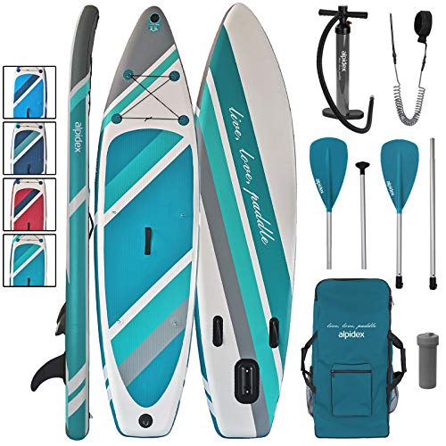 ALPIDEX Stand Up Paddle Set SUP 320 x 76 x 15 cm max.130 kg Aufblasbar Stabil Leicht Komplett Set Tragetasche Paddel Finnen Luftpumpe Leash Repair Kit, Farbe:Earth
