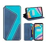 MOBESV Smiley OnePlus 5T Hülle Leder, OnePlus 5T Tasche Lederhülle/Wallet Hülle/Ledertasche Handyhülle/Schutzhülle mit Kartenfach für OnePlus 5T, Dunkel Blau/Aqua