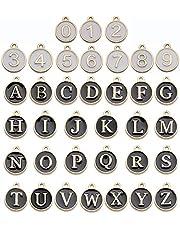 36 قطعة ساحرة لصناعة المجوهرات، 2020 حِلي متدلية لأشكال حروف وأبجدية متطورة لصناعة المجوهرات ومجموعة كبيرة من القلائد والأقراط والأساور المصنوعة يدويًا (أسود الحروف الأبجدية والأبجدية البيضاء)